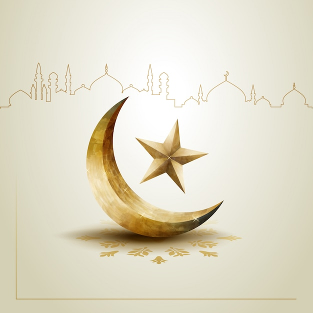 gold star and crescent moon template design vector premium download