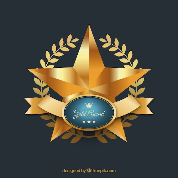 gold star award with shiny ribbon vector free download