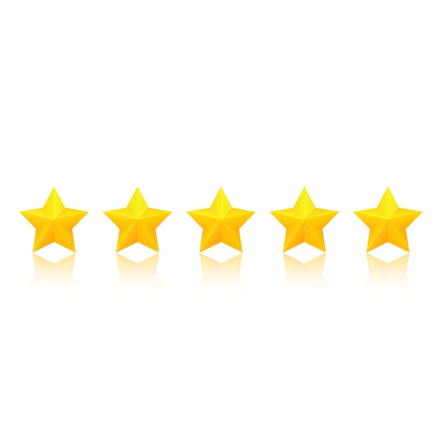 Gold star rating with reflection. Premium Vector