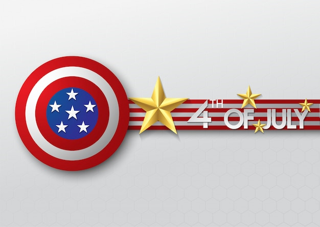 Gold star and shield of independence day usa celebration banner template Premium Vector