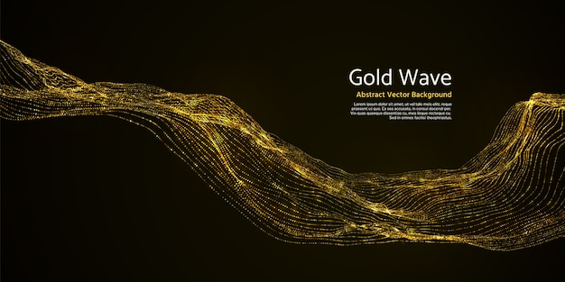 Gold striped abstract wave on dark background. golden blinking wavy lines in darkness vector illustration. wavy gold effect glitter vibrant Premium Vector