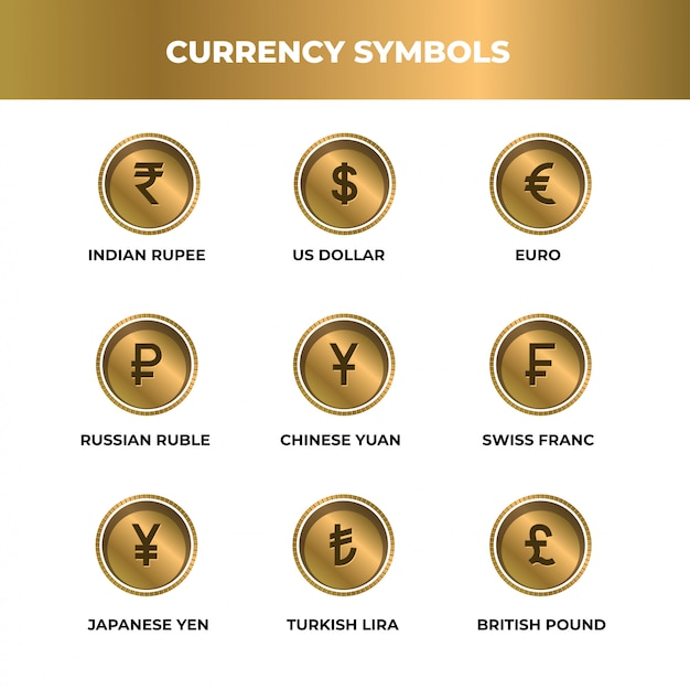 Gold style currency symbol Premium Vector