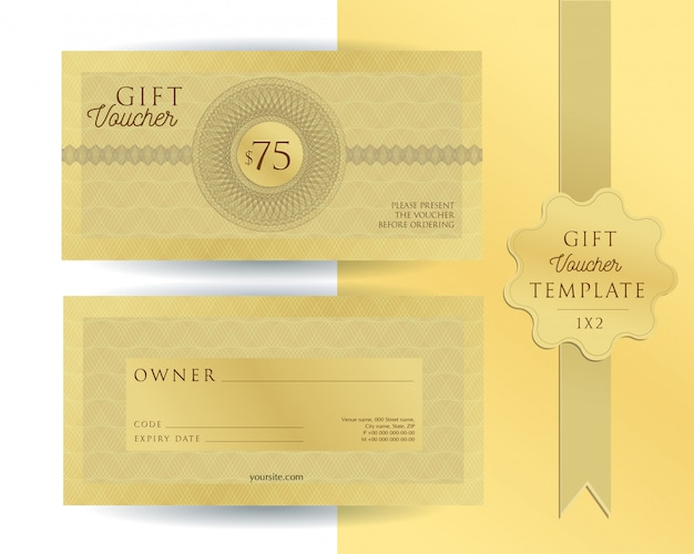 Gold template gift voucher with guilloche watermarks. double-sided coupon with fields to fill. Premium Vector