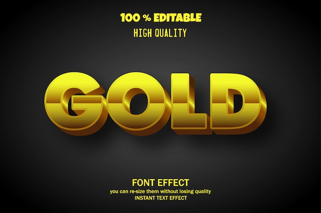 Gold text, editable font effect Premium Vector