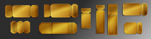 Gold tickets to movie theater, concert or festival Free Vector