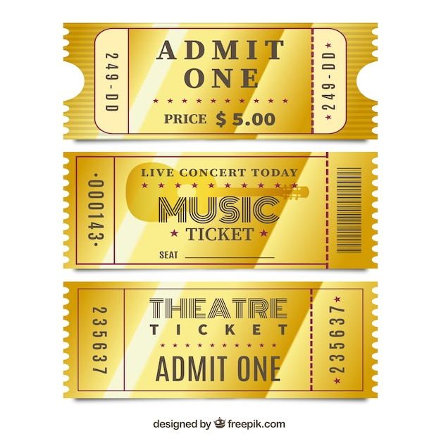 Gold Tickets  Concert Ticket Template Free Download