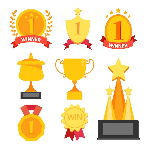 Gold trophies collection Free Vector