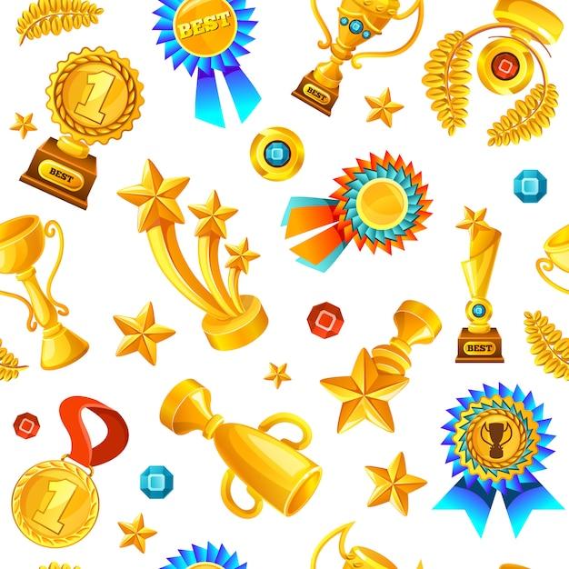 ゴールドトロフィーのシームレスパターン 無料ベクター