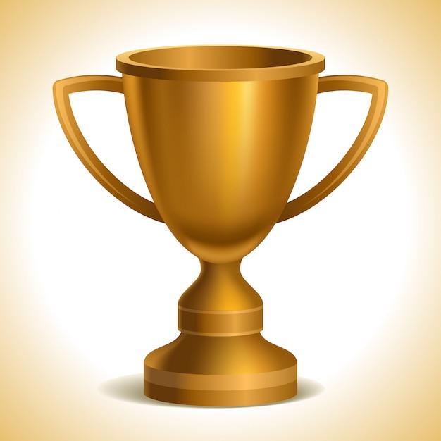Gold trophy cup Premium Vector