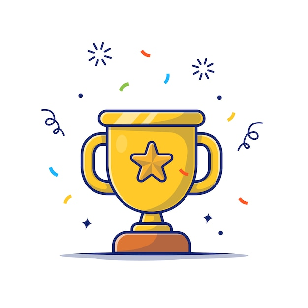 Gold trophy  icon . golden goblet with star, reward icon  white isolated Premium Vector