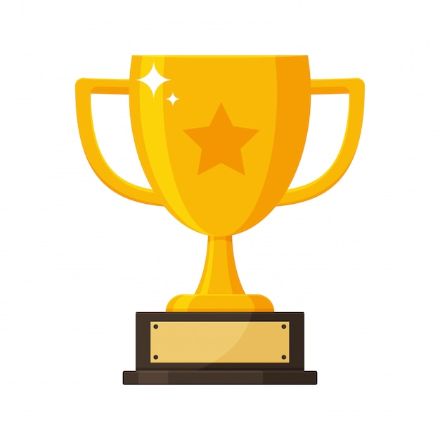 Gold trophy with the name plate of the winner of the competition. Premium Vector