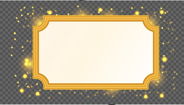 Gold vector empty frame isolated on transparent background. Premium Vector