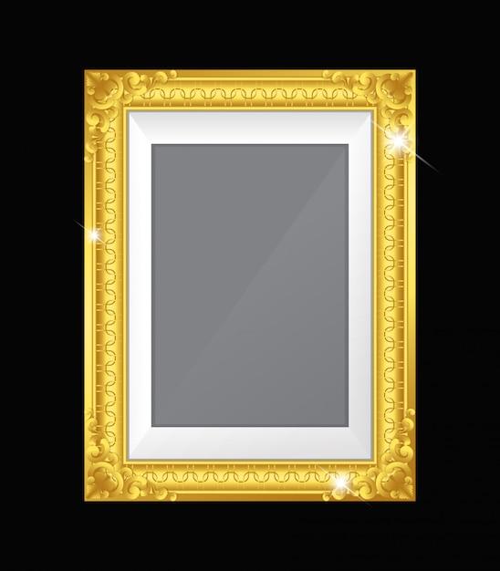 80cad0483b83 Gold vintage frame isolated on black background Premium Vector