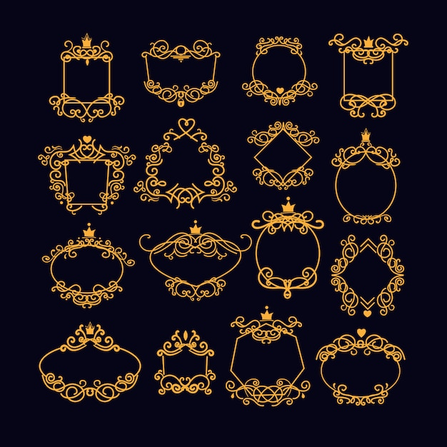 Gold vintage frame set Free Vector