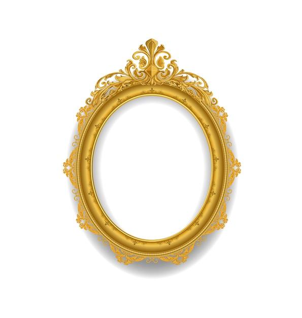 Gold vintage frame on white Premium Vector