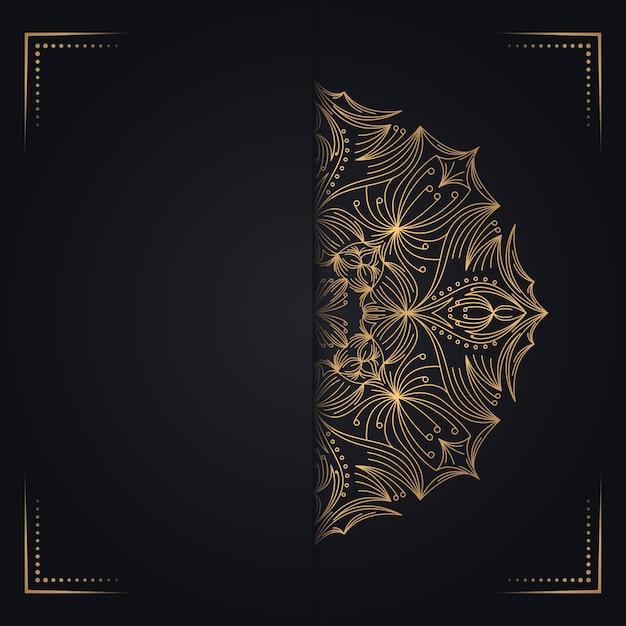 Gold vintage greeting card black background Premium Vector