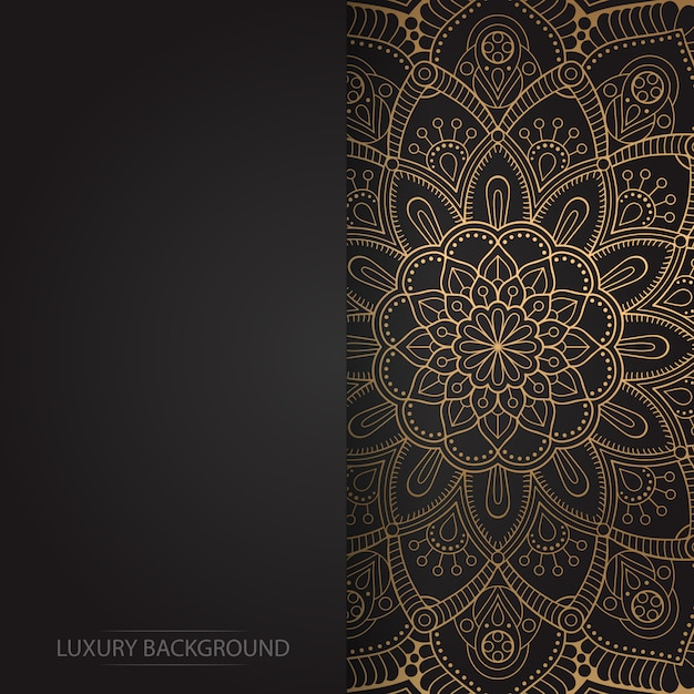 Gold vintage greeting card on a black background Premium Vector