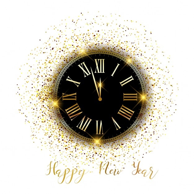 Gold watch for the new year Free Vector
