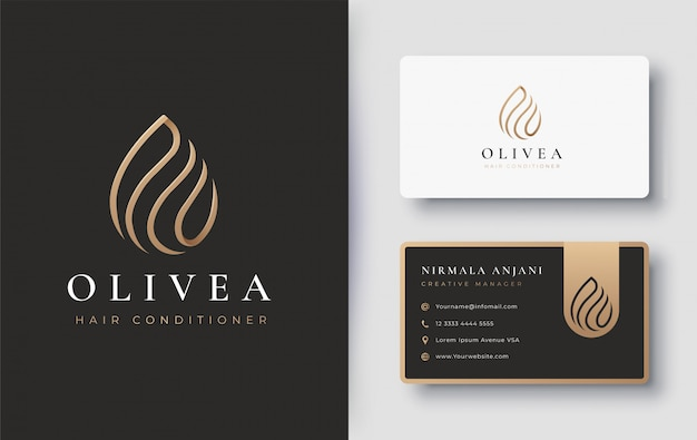 Gold water drop / olive oil logo and business card design Premium Vector