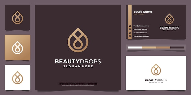 Gold water drop and olive oil logo and business card design Premium Vector