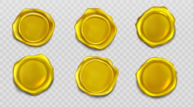 Gold wax seal stamp approval sealing icons set Free Vector
