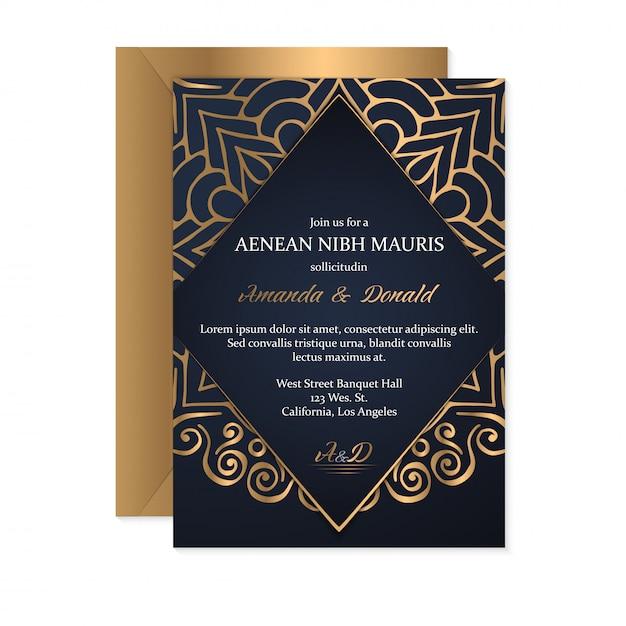 Gold wedding card Premium Vector