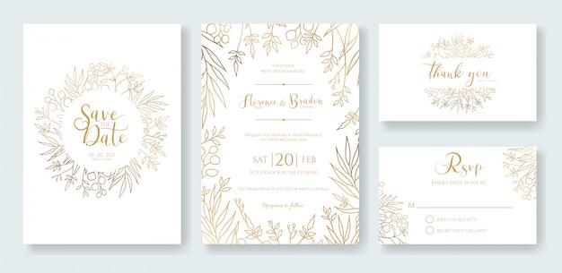 Gold wedding invitation template. Premium Vector