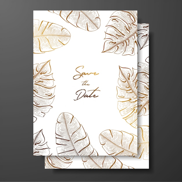 Gold wedding invitation with tropical leaves.  elements for design template. Premium Vector