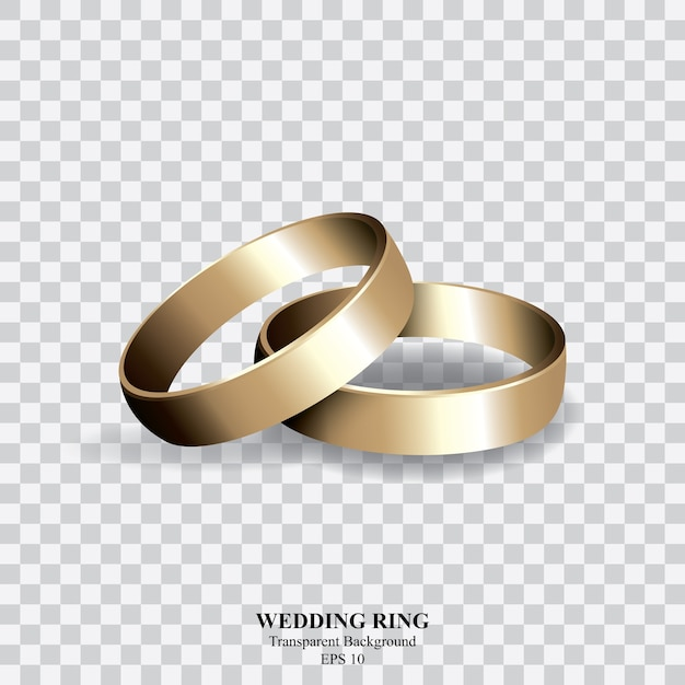 gold wedding ring on transparent background vector