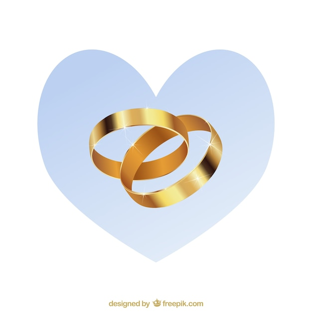Gold wedding rings Vector Free Download