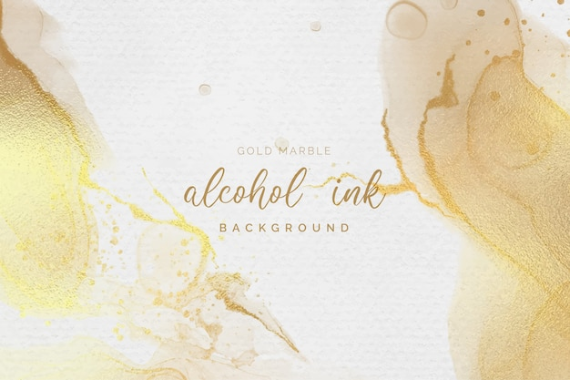 Gold and white alcohol ink background Free Vector