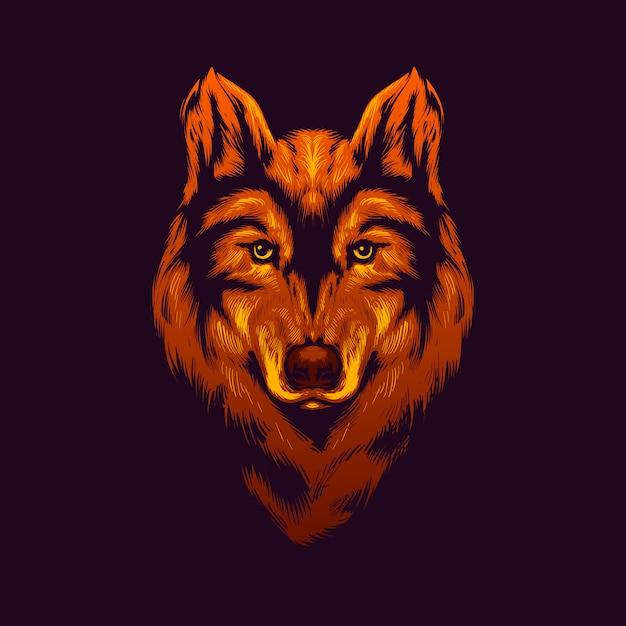 Gold wolf head illustration Premium Vector