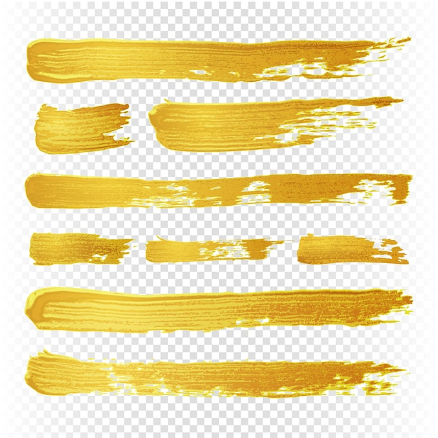 Gold yellow paint vector textured abstract brushes. golden hand drawn brush strokes. illustration of brush golden paint watercolor Premium Vector