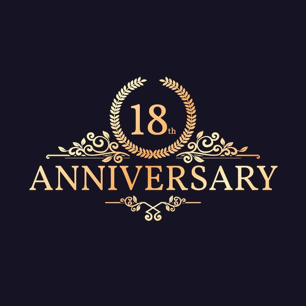 Golden 18th anniversary logo template with ornaments Free Vector