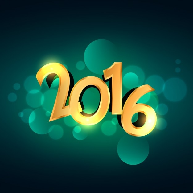 Golden 2016 new year numbers on green bokeh background