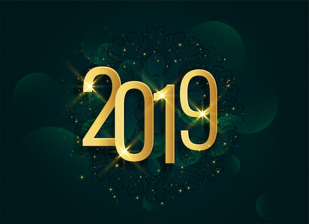 Golden 2019 3d shiny new year background Free Vector