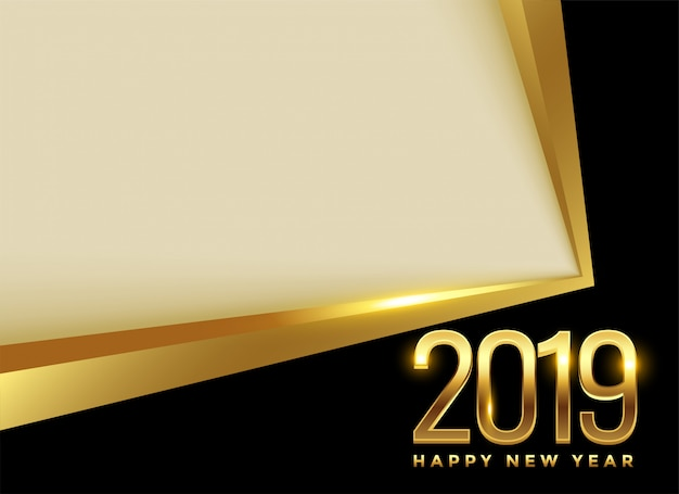 Golden 2019 new year background with text space Free Vector