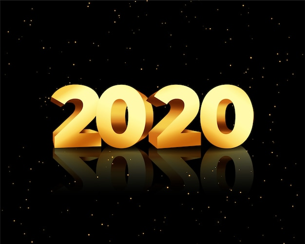 Golden 2020 in 3d style on black card Free Vector