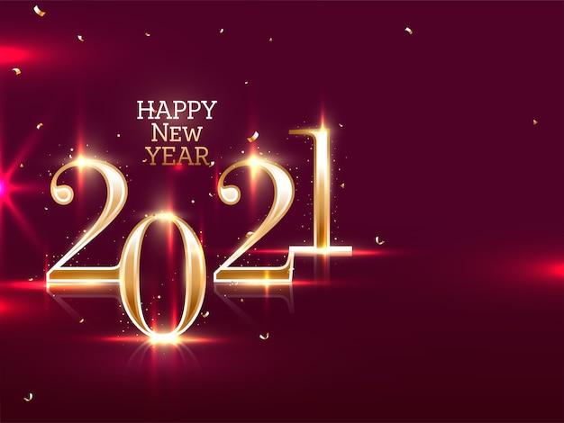 Golden 2021 happy new year text with lights effect and confetti on maroon background Premium Vector