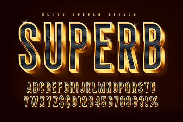 Golden 3d shining font, gold letters and numbers Premium Vector