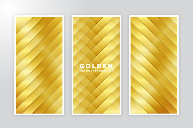 Golden abstract brochure set Premium Vector