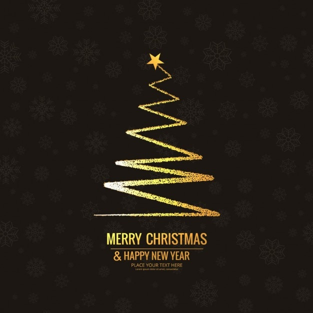 Golden abstract christmas tree background Free Vector