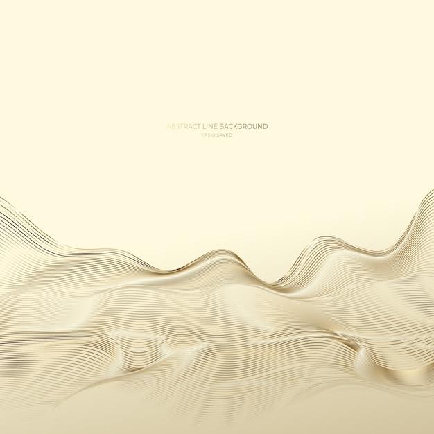 Золотой абстрактный фон линии, современные волны. Premium векторы