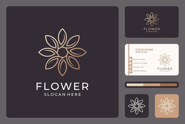 비즈니스 카드와 황금 추상 라인 꽃 로고 디자인. 프리미엄 벡터