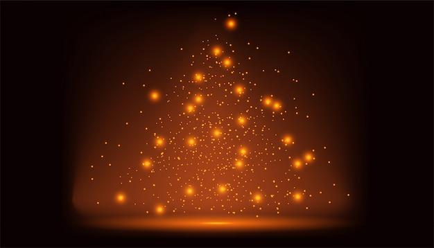 Golden abstract sparkles or glitter lights. Premium Vector