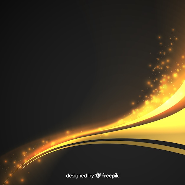 Golden abstract wavy background Free Vector