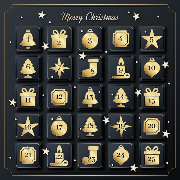Golden advent calendar Free Vector