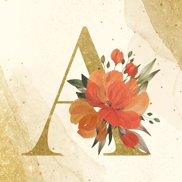 브랜딩 및 웨딩 로고 골드 배경에 수채화 꽃 장식과 함께 황금 알파벳 a 무료 벡터