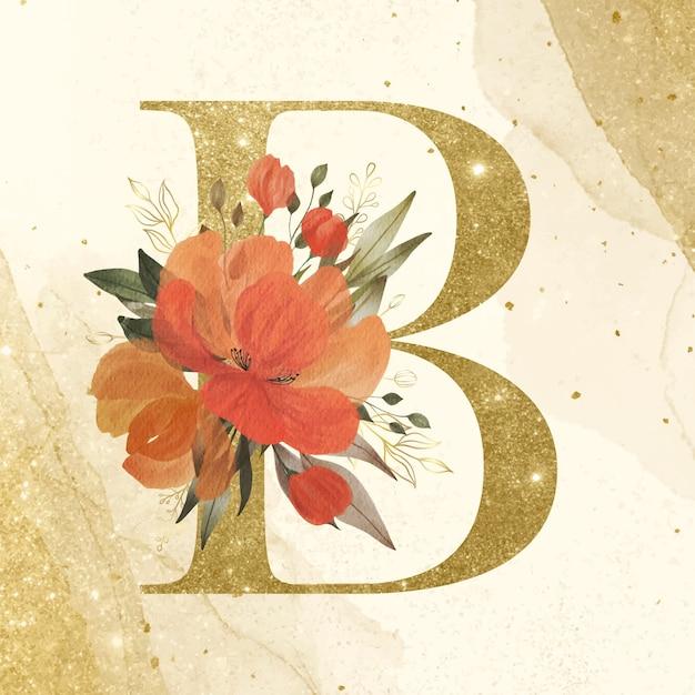 ブランディングと結婚式のロゴのための金の背景に水彩の花の装飾と黄金のアルファベットb 無料ベクター