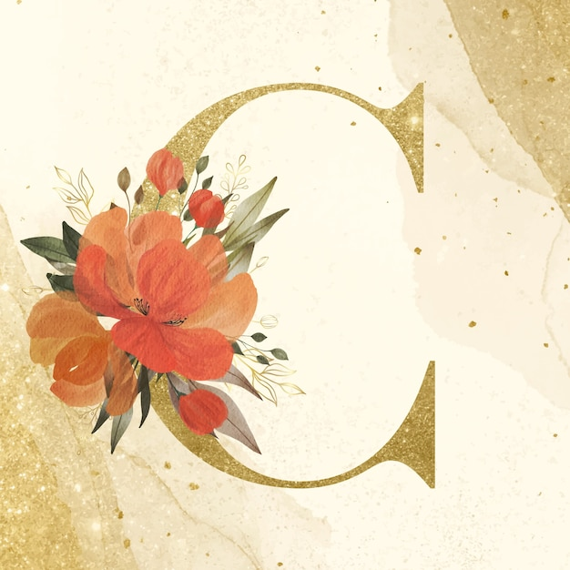 Golden alphabet c with watercolor flower decoration for branding and wedding logo Free Vector